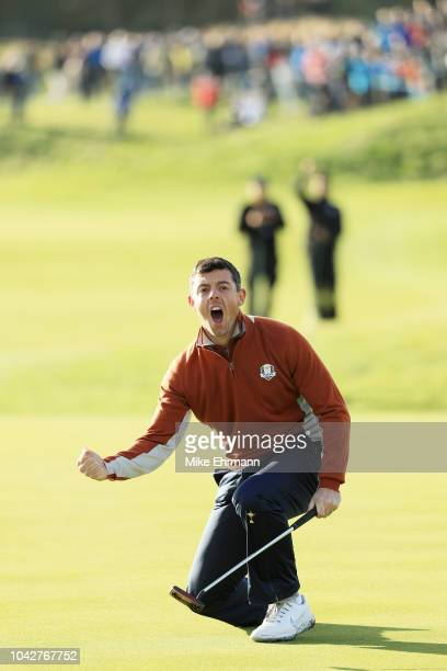 Rory McIlroy of Europe celebartes during the morning fourball matches of the 2018 Ryder Cup at Le Golf National on September 29 2018 in Paris France