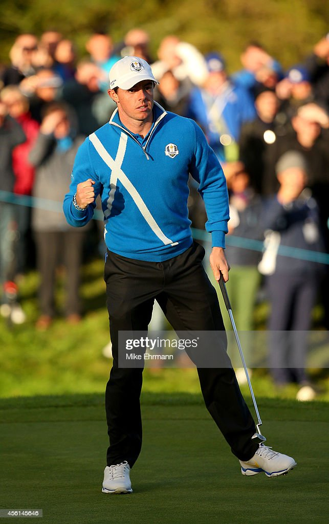 Rory McIlroy of Europe celebrates a putt on the 17th green during the Afternoon Foursomes of the 2014 Ryder Cup on the PGA Centenary course at the Gleneagles Hotel on September 26, 2014 in Auchterarder, Scotland.