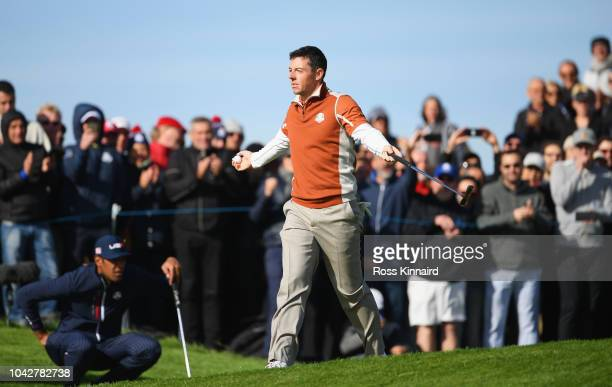 Rory McIlroy of Europe celebrates on the 12th during the morning fourball matches of the 2018 Ryder Cup at Le Golf National on September 29, 2018 in...