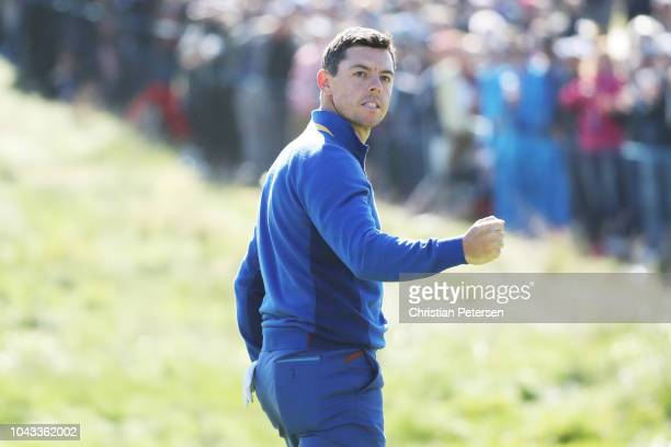 Rory McIlroy of Europe celebrates on the fifth green during singles matches of the 2018 Ryder Cup at Le Golf National on September 30, 2018 in Paris,...