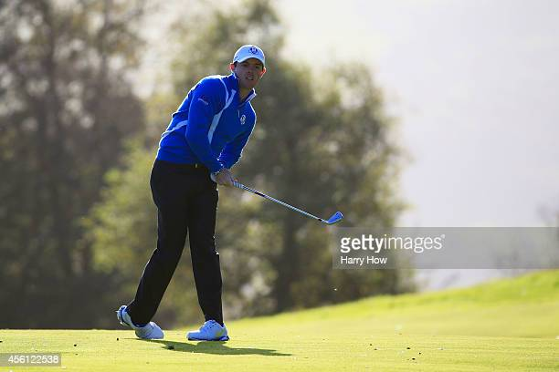 Rory McIlroy of Europe hits his second shot on the 5th hole during the Morning Fourballs of the 2014 Ryder Cup on the PGA Centenary course at the...