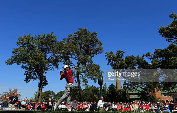 Rory McIlroy of Europe hits his tee shot on the first hole during day two of the Afternoon FourBall Matches for The 39th Ryder Cup at Medinah Country...