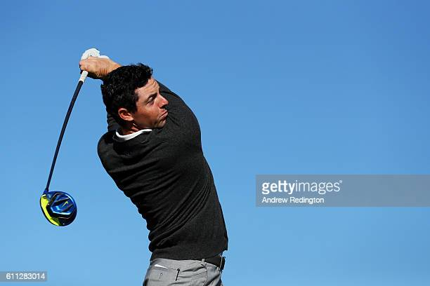 Rory McIlroy of Europe hits off a tee during practice prior to the 2016 Ryder Cup at Hazeltine National Golf Club on September 29, 2016 in Chaska,...