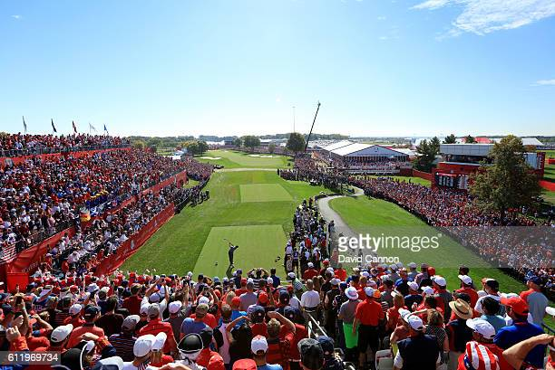 Rory McIlroy of Europe hits off the first tee during singles matches of the 2016 Ryder Cup at Hazeltine National Golf Club on October 2 2016 in...