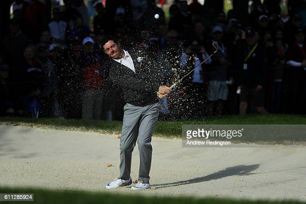 Rory McIlroy of Europe its out of a bunker during practice prior to the 2016 Ryder Cup at Hazeltine National Golf Club on September 29, 2016 in...