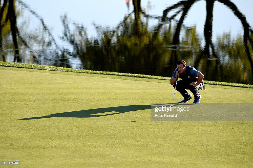 Rory McIlroy of Europe lines up a putt on the 16th green during afternoon fourball matches of the 2016 Ryder Cup at Hazeltine National Golf Club on September 30, 2016 in Chaska, Minnesota.