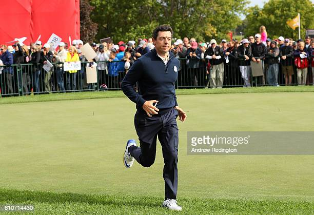 Rory McIlroy of Europe looks on during practice prior to the 2016 Ryder Cup at Hazeltine National Golf Club on September 27, 2016 in Chaska,...