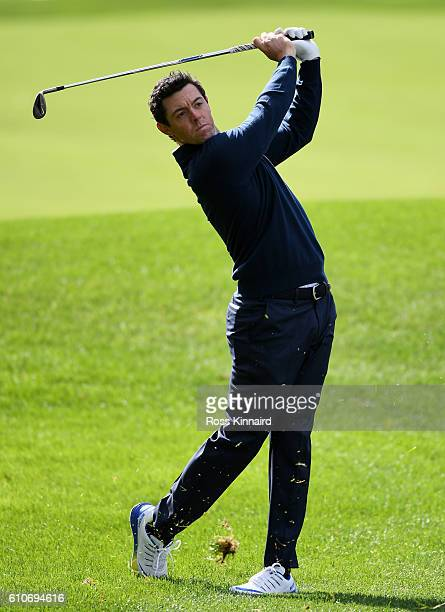 Rory McIlroy of Europe plays a shot prior to the 2016 Ryder Cup at Hazeltine National Golf Club on September 27, 2016 in Chaska, Minnesota.