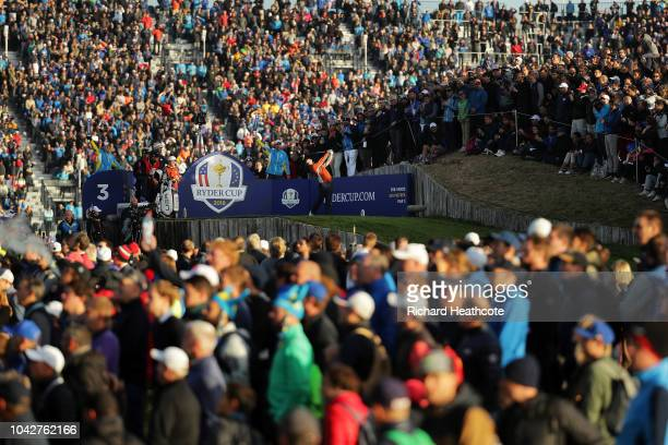 Rory McIlroy of Europe plays his shot from the third tee during the morning fourball matches of the 2018 Ryder Cup at Le Golf National on September...