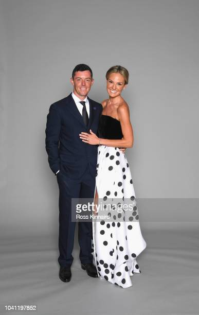 Rory McIlroy of Europe poses with his wife Erica McIlroy prior to the 2018 Ryder Cup Gala at the Palace of Versailles on September 26 2018 in...