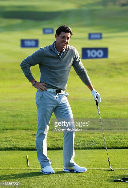 Rory McIlroy of Europe practices on the range ahead of the 2014 Ryder Cup at Gleneagles Hotel on September 21, 2014 in Auchterarder, Scotland.
