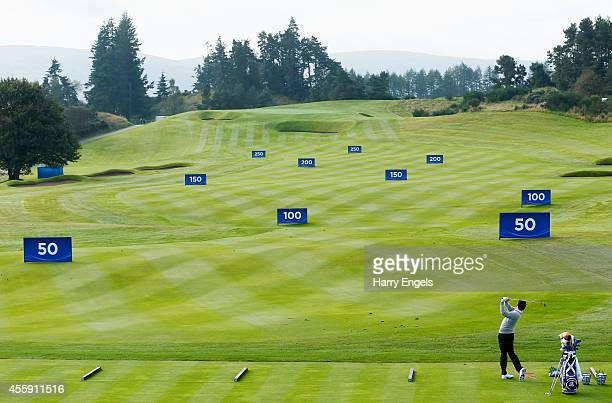 Rory McIlroy of Europe practices on the range ahead of the 2014 Ryder Cup on the PGA Centenary course at the Gleneagles Hotel on September 22, 2014...