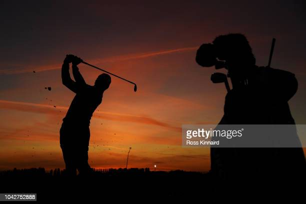 Rory McIlroy of Europe practices on the range prior to the morning fourball matches of the 2018 Ryder Cup at Le Golf National on September 29, 2018...