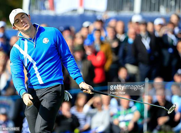 Rory McIlroy of Europe reacts after a putt on the 11th green during the Morning Fourballs of the 2014 Ryder Cup on the PGA Centenary course at the...