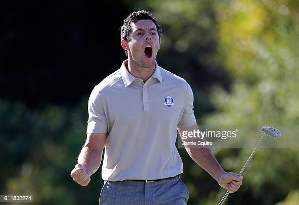 Rory McIlroy of Europe reacts after a putt on the tenth green during afternoon fourball matches of the 2016 Ryder Cup at Hazeltine National Golf Club...