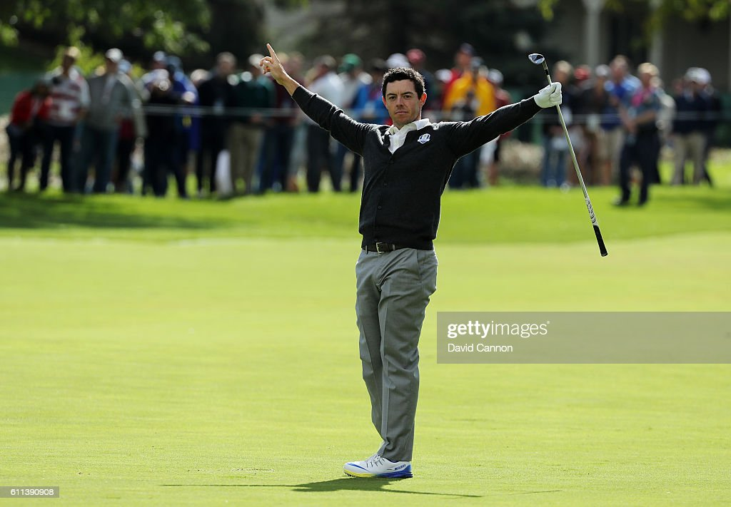Rory McIlroy of Europe reacts after holing out for eagle during practice prior to the 2016 Ryder Cup at Hazeltine National Golf Club on September 29, 2016 in Chaska, Minnesota.