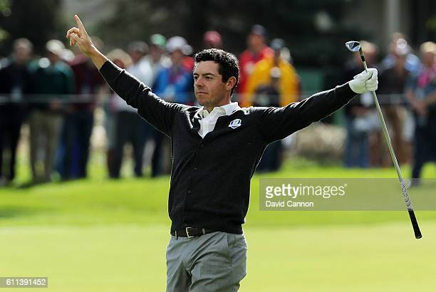 Rory McIlroy of Europe reacts after holing out for eagle during practice prior to the 2016 Ryder Cup at Hazeltine National Golf Club on September 29,...