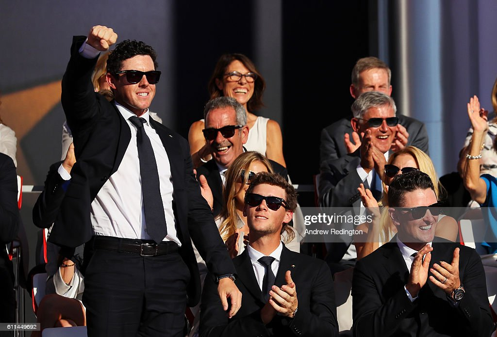 Rory McIlroy of Europe reacts during the 2016 Ryder Cup Opening Ceremony at Hazeltine National Golf Club on September 29, 2016 in Chaska, Minnesota.