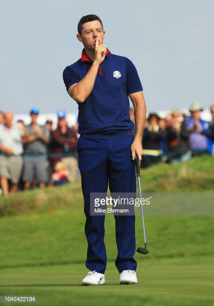 Rory McIlroy of Europe reacts during the afternoon foursome matches of the 2018 Ryder Cup at Le Golf National on September 28, 2018 in Paris, France.