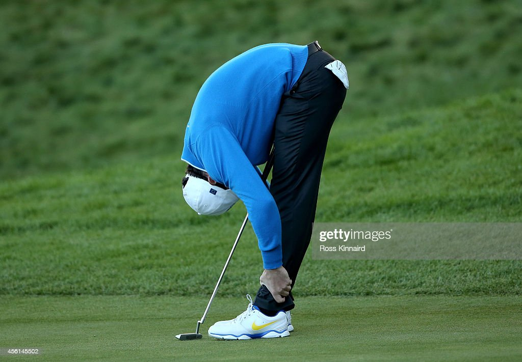 Rory McIlroy of Europe reacts on the 18th green during the Afternoon Foursomes of the 2014 Ryder Cup on the PGA Centenary course at the Gleneagles Hotel on September 26, 2014 in Auchterarder, Scotland.
