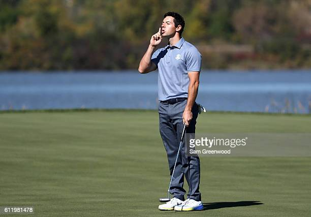 Rory McIlroy of Europe reacts on the seventh green during singles matches of the 2016 Ryder Cup at Hazeltine National Golf Club on October 2, 2016 in...