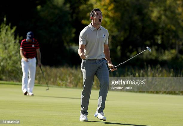 Rory McIlroy of Europe reacts on the tenth green during afternoon fourball matches of the 2016 Ryder Cup at Hazeltine National Golf Club on October 1...