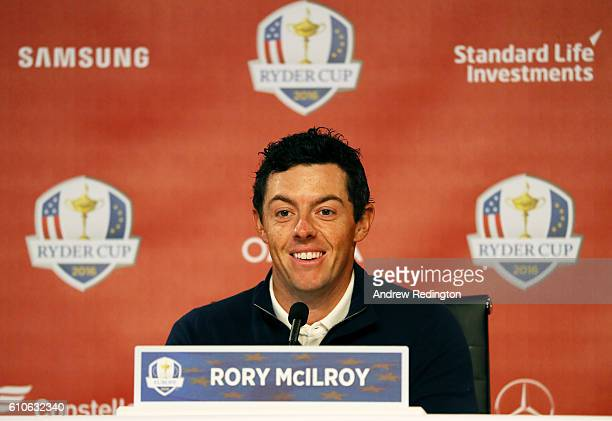 Rory McIlroy of Europe speaks during a press conference prior to the 2016 Ryder Cup at Hazeltine National Golf Club on September 27, 2016 in Chaska,...