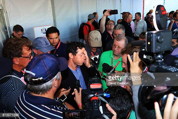 Rory McIlroy of Europe speaks to media after being defeated by the United States during singles matches of the 2016 Ryder Cup at Hazeltine National...