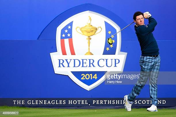 Rory McIlroy of Europe tees off during practice ahead of the 2014 Ryder Cup on the PGA Centenary course at the Gleneagles Hotel on September 23, 2014...