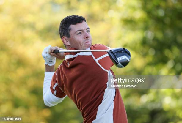 Rory McIlroy of Europe tees off during the morning fourball matches of the 2018 Ryder Cup at Le Golf National on September 29 2018 in Paris France