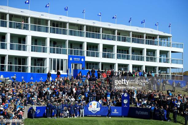 Rory McIlroy of Europe tees off on the 17th hole during practice ahead of the 2018 Ryder Cup at Le Golf National on September 25 2018 in Paris France