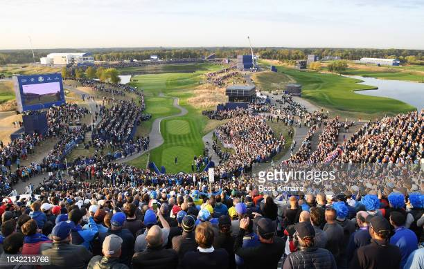 Rory McIlroy of Europe tees off on the 1st during the morning fourball matches of the 2018 Ryder Cup at Le Golf National on September 28 2018 in...