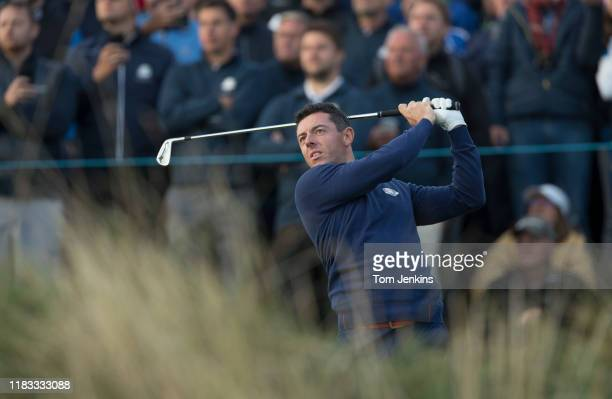 Rory McIlroy of Europe tees off the 2nd hole in his morning four-ball match with Thorbjorn Olesen versus Johnson and Fowler of USA during the 2018...