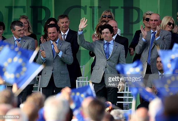 Rory McIlroy of Europe waves to the crowd during the Opening Ceremony for the 39th Ryder Cup at Medinah Country Club on September 27 2012 in Medinah...