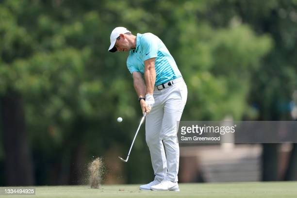 Rory McIlroy of Ireland plays a shot on the first hole during the final round of the World Golf Championship-FedEx St Jude Invitational at TPC...