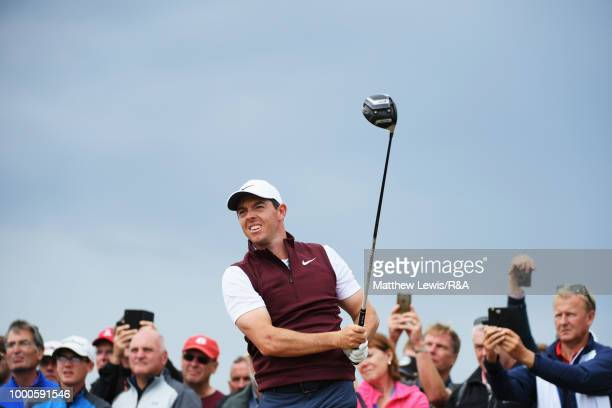 Rory McIlroy of Ireland tees off at the 2nd hole while practicing during previews to the 147th Open Championship at Carnoustie Golf Club on July 17...