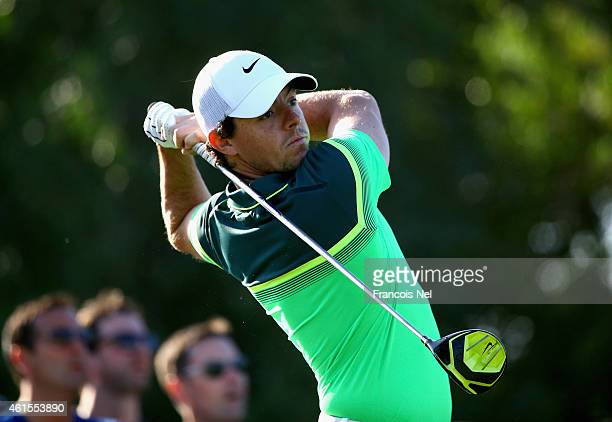 Rory McIlroy of Northen Ireland plays his tee shot on the 16th hole during the first round of the Abu Dhabi HSBC Golf Championship at Abu Dhabi Golf...