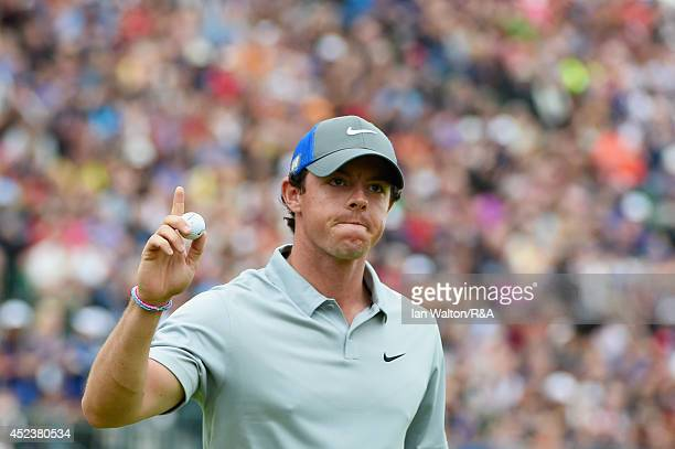 Rory McIlroy of Northern Ireland acknowledges the crowd after his eagle on the 18th hole during the third round of The 143rd Open Championship at...