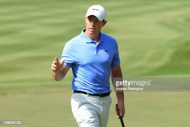 Rory McIlroy of Northern Ireland acknowledges the crowd following a birdie on the 3rd green during Day 4 of the Abu Dhabi HSBC Championship at Abu...