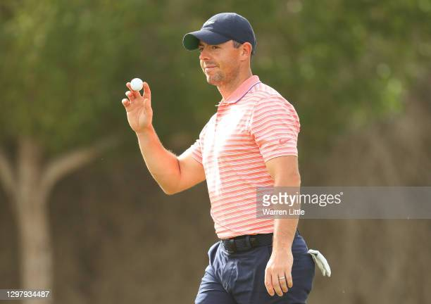 Rory McIlroy of Northern Ireland acknowledges the crowd on the 10th green during Day Three of the Abu Dhabi HSBC Championship at Abu Dhabi Golf Club...