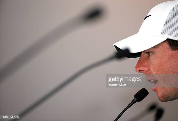 Rory McIlroy of Northern Ireland addresses a press conference ahead of the DP World Tour Championship at Jumeirah Golf Estates on November 18 2014 in...