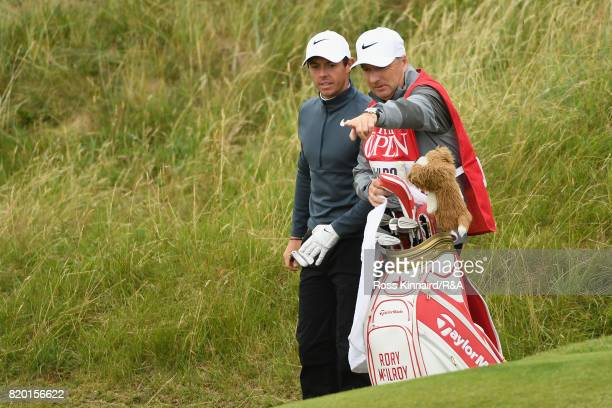 Rory McIlroy of Northern Ireland and his caddie JP Fitzgerald during the second round of the 146th Open Championship at Royal Birkdale on July 21...