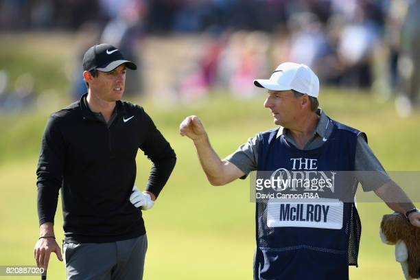Rory McIlroy of Northern Ireland and his caddie JP Fitzgerald during the third round of the 146th Open Championship at Royal Birkdale on July 22 2017...