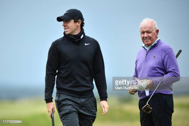 Rory McIlroy of Northern Ireland and his Father, Gerry McIlroy during preview for the Alfred Dunhill Links Championship at The Old Course on...