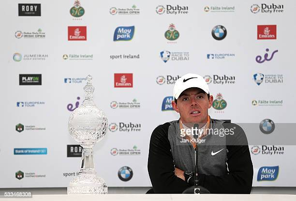 Rory McIlroy of Northern Ireland answers questions from the media following his 3 shot victory during the final round of the Dubai Duty Free Irish...