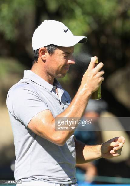 Rory McIlroy of Northern Ireland applies sunscreen as he plays in the pro am ahead of the Nedbank Golf Challenge at Gary Player CC on November 7 2018...