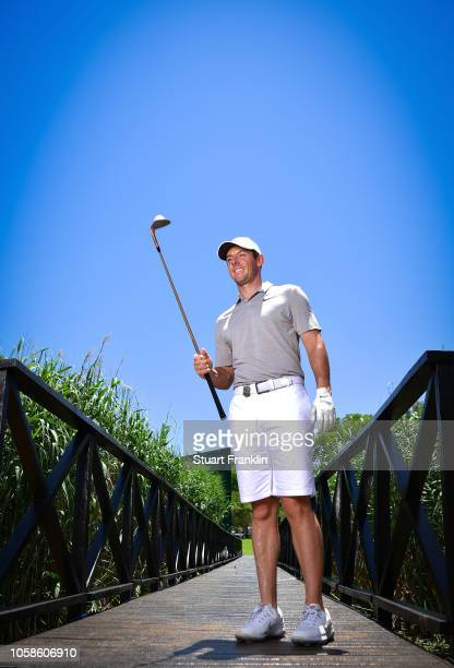 Rory McIlroy of Northern Ireland balances his golf ball on a sand wedge during the pro am prior to the Nedbank Golf Challenge at Gary Player CC on...