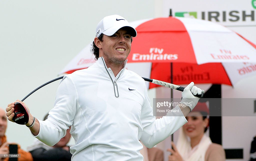 Rory McIlroy of Northern Ireland bends his driver after his tee shot on the 11th tee during the second round of the Irish Open at Carton House Golf Club on June 28, 2013 in Maynooth, Ireland.