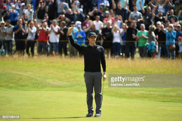 Rory McIlroy of Northern Ireland celebrates a birdie on the fourth hole during the third round of the 146th Open Championship at Royal Birkdale on...
