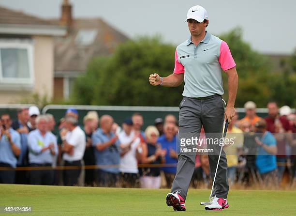 Rory McIlroy of Northern Ireland celebrates a birdie putt on the first green during the final round of The 143rd Open Championship at Royal Liverpool...